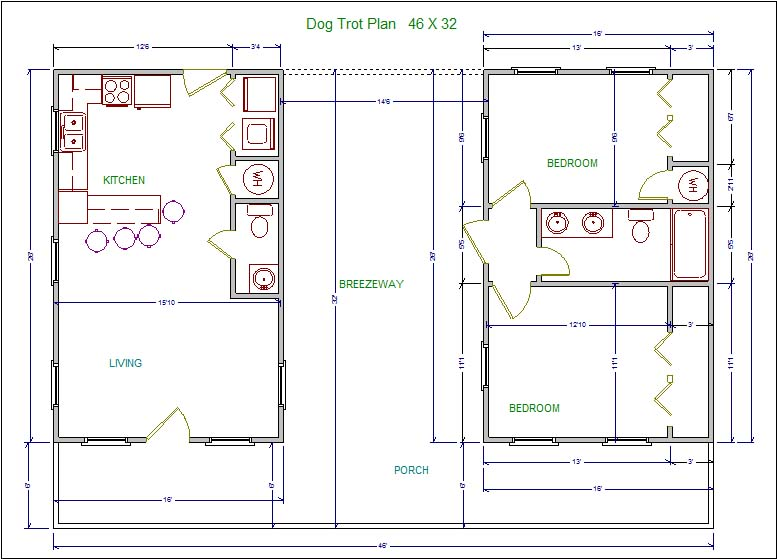 Lssm13 dog trot plan lonestar builders for Dogtrot home plans